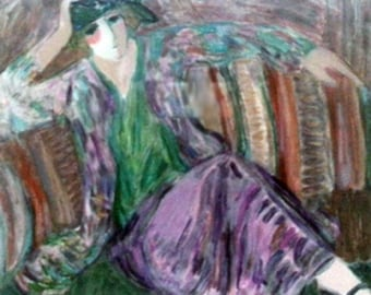"""BARBARA WOOD  """"Pensive Woman"""" is a beautiful Seriolithograph with Certificate of Authenticity."""