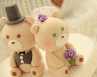 bride and groom bear wedding cake topper