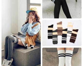 Cute Warm Stripes Long Socks for Women's and Girl's [6 color selection]