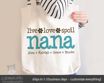 nana or grandma tote | nana tote bag grandma personalized tote bag -great mother's day gift for grandma MMGA1-011-B