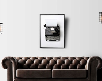 typewriter print, vintage typewriter, retro decor, black and white photography, office decor, monochrome, instant download, digital art
