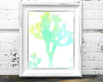 Watercolor Joshua Tree Print,#Blue,#Green,#Yellow,#DesertTrees,#Plants,#Soutwest,#Western,#Art,#Printables,HomeDecor,#InteriorDesign,#Light