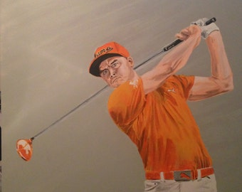 "Rickie Fowler painting in orange. 36"" x 36"" x 1.5"""