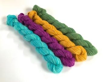 Miniskein Set. Tamusi Pure Alpaca 4 Ply/Fingering Yarn. 4 Skeins. Earth And Sea