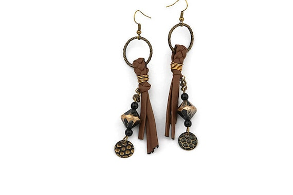 Long brown recycled faux leather dangle earrings with beads in Wabi sabi, tribal style