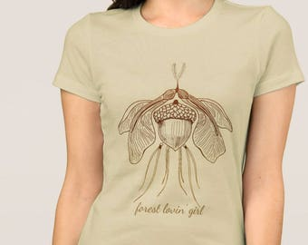 Forest Moth Nature Lover Women's T-Shirt, Ombre Brown Acorn Pine Needles Maple Keys Insect Drawing and Text Nature Theme Short Sleeve Top