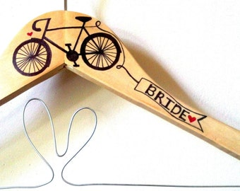 Retro Bicycle Bride Wedding Dress Hanger Personalized