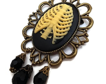 Rib Cage Brooch-Anatomy Pin-Rib Cage Pin-Lapel Pin-Goth Jewelry-Punk Jewelry-Dark Accessory-Cameo PIn-Gifts for Goths-Under 20-Teen Gifts