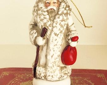 Vintage Santa Claus Ornament 1903  Tree Decoration Ceramic Figure Holiday Decor Collectible Christmas Reproductions Inc