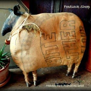 Primitive Folk Art Handcrafted Feedsack Sheep-Flour Feedsack-Cupboard Tuck-Shelf Sitter-Spring-Vintage-Farmhouse
