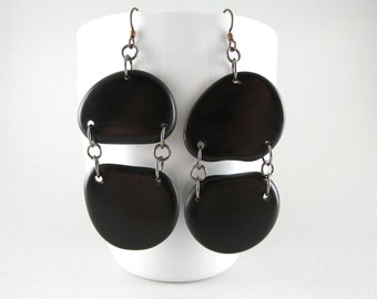 Double Black Tagua Nut Eco Friendly Earrings with Free USA Shipping #taguanut #ecofriendlyjewelry