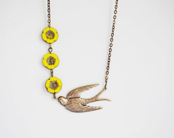 Bridesmaid Gift Bridesmaid Jewelry Flower Necklace Yellow Necklace Bird Necklace Vintage Necklace Wedding Necklace Bridal Necklace Gift