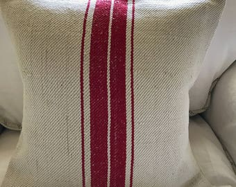 Vintage Feed-Sack Pillow Cover - 16 inch square