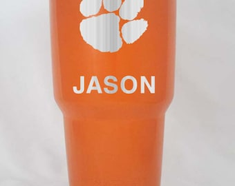 20 30 oz RTIC YETI cup Clemson tigers orange purple stainless personalized