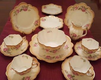 BERRY BOWL SET*Berry Salad Set*15 pc Set*Berry Salad Bowl Tray*Cups Saucers*Plates*Vintage Set*Roses*Unusual Set*Vintage China Porcelain Set