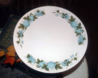 Vintage (c.1970s) Noritake Blue Orchard pattern 6695 salad | side plate. Made in Japan.  Blue fruit and berries, greenery.