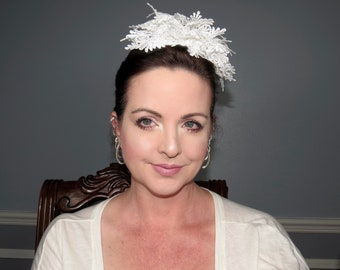 WHITE LACIE Party Fascinator Headband Hair Adornment