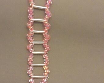 Pink and Silver Ladder Bracelet