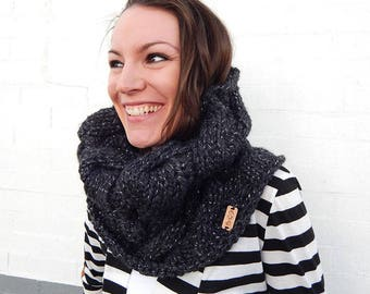 Made to Order: Charcoal Gray, Sparkly, Cable Knit Cowl - Acrylic/Wool Blend