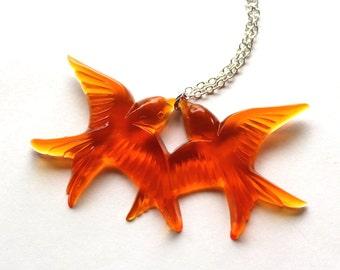 Bright orange flying kissing vintage plastic swallow love birds silver necklace