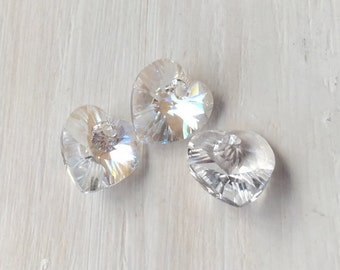 Swarovski Crystal Hearts 10mm Pendants 6228 Clear 6 Heart Charms