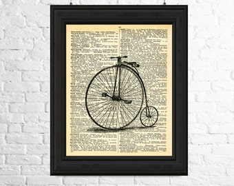 Dictionary Page Poster Download - Penny farthing Downloadable Image, Penny Farthing Printable Art, Printable Poster,Dictionary page Art