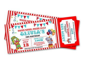 Carnival Circus Ticket Birthday Party Invitation - Printable File