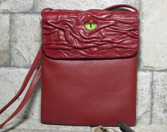 Small Cross Body Purse Pouch Monster Face Red Leather Harry Potter Labyrinth 438