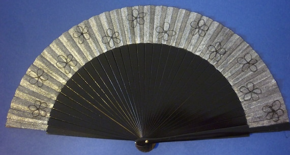 Black and Silver Wooden Hand Fan with Black Flowers by Kate Dengra Spain