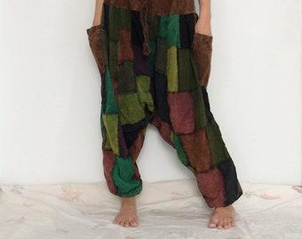 Brown Green Patchwork Hippie Harem Pants, Unisex Pants, Baggy Pants (HR-654)