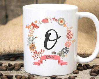 Floral Monogram Mug,Personalized Mug,Funny Coffee Mug,Profanity Mug,Gift for frienf,Office Mug,Bridesmaid Gift,Personalized Gift, Custom Mug