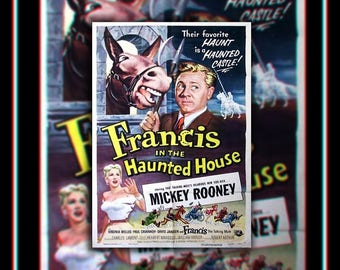 FRANCIS In The HAUNTED House (1956) Very Rare 27x40 Fold US One Sheet Movie Poster Original Vintage Collectible