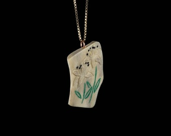 Handmade Lily Pendant Made from Naturally Shed Deer Antler and Malachite