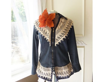 Upcycled Reworked fitted Jacket- Long sleeve zippered black denim coat with added lace and ruffle- size 8-10- FREE SHIPPING