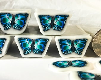 Artisan butterfly polymer clay cane, butterfly cane, blue green, SKU #BUTB232