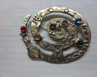 Vintage Deborah Roberts Modernist Abstract Brass Pin 80s Artisan Brooch
