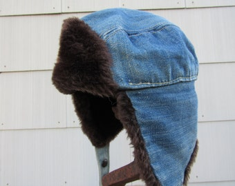 70s Levi's Orange Tab Denim Trapper Hat, size S, 54 or US 6 5/8 // Vintage Levi Strauss Winter Hat // Fudd Hat