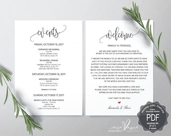 Wedding Welcome and Itinerary card, editable PDF template, Timeline card, Wedding weekend, welcome bag, welcome box, rustic theme(TED334_26)