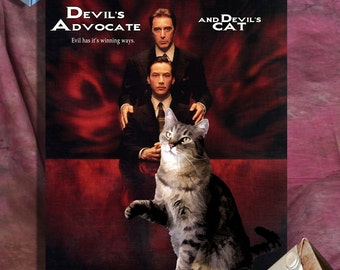 Tabby Cat Fine Art Canvas Print - The Devils Advocate Movie Poster NEW COLLECTION