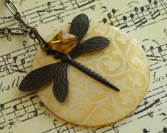 Dragonfly Round Mother of Pearl Pendant -  Topaz