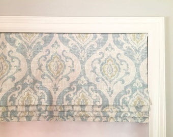 """SALE!!  Faux (fake) roman shade valance.  Lined and ready to ship.  Covington Suri Serenity.  46"""" Wide x 16"""" Long."""