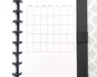 UNDATED Month on One Page, Monthly Calendar Inserts for Discbound Planners, ARC Junior, TUL, 8 Disc Planners