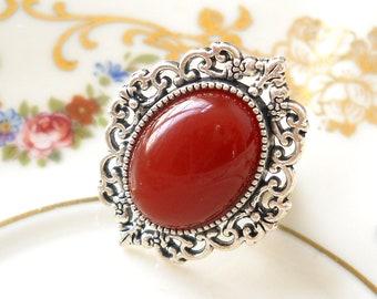 carnelian ring cabochon ring adjustable ring carnelian gemsone ring bohemian ring boho style ring