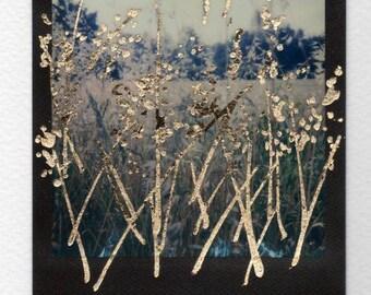 Il Campo dorato. Opera originale da foto Polaroid. Spighe di grano, estate, natura. Quadro con foglia oro, fatto a mano, articolo regalo.