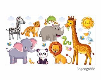 080 Wall Decals Animals children's room elephant lion giraffe