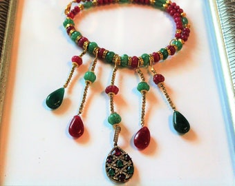 Emerald necklace, ruby necklace, bib necklace, statement necklace, beaded necklace