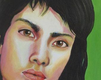 """Art Print, """"Testy on Green"""", Wall Art, Original Art, Original Painting, Portrait Painting, Prints, Figurative Art, Green, 11x14"""