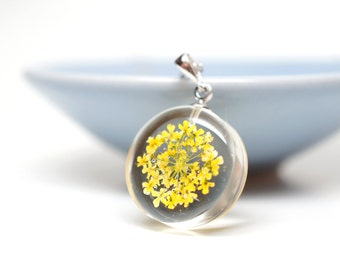 Yellow queen anne's lace flower necklace - clear resin, white gold plated silver chain