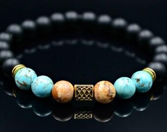 Men's Turquoise Bracelet Jasper Bracelet Beaded Bracelet Stretch Bracelet Onyx Bracelet Gemstone Bracelet Gift for Men Elastic Bracelet