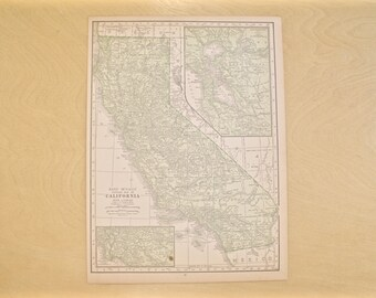 1926 - California Map - Large Antique Map - Beautiful Old Map of California - Large Vintage Map - Colorful Atlas Map - Gift - Home Decor